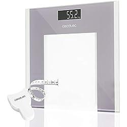 Cecotec Surface Precision 9100 Healthy Báscula de baño digital, Con plataforma de cristal templado, Pantalla LCD invertida, Capacidad máxima 180kg, Lista para usar y con cinta métrica