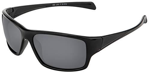 La Optica B.L.M. Sonnenbrille UV400 CAT 3 Unisex Damen Herren Leicht Sport Angeln - Einzelpack Glänzend Schwarz (Gläser: POLARISIERT Grau)