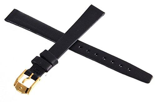 Movado, Schwarz, Schnalle Uhrenarmband Armband Silber 12mm LANGE 9711