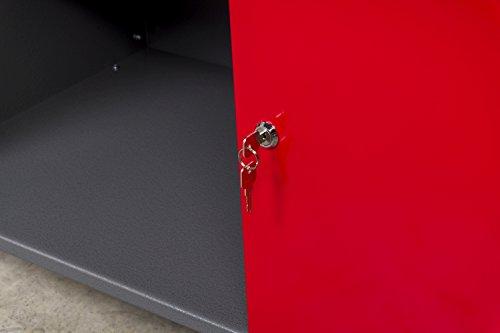 Werkbank aus Metall mit 30 mm Sperrholzplatte mit einer verschließbaren Tür, einer Schublade sowie einer Zwischenablage, Maße B 120 x H 85 X T 60 cm - 4