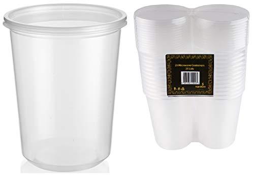 Microonde e congelatore in plastica contenitori per alimenti, 907,2gram, 25vasi in PP con 25coperchi–perfetto per pasto Prep, conservazione e da asporto