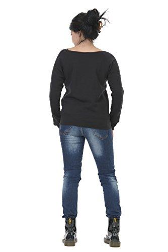 maglione donna con scollatura barca / sweatshirt nero blu grigio rosso bianco / sweater stampa piccolo fata da 3Elfen nero grigio
