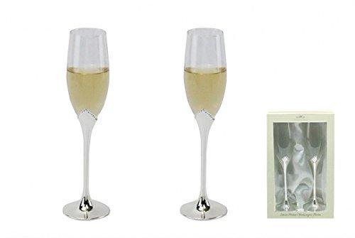 personnalisé Paire de flûtes à champagne plaqué argent avec cristaux – Ajoutez votre propre Message