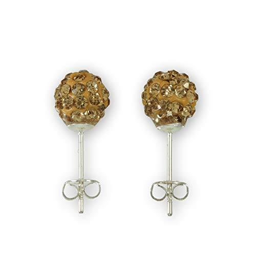 Ohrstecker 925 Sterling Silber - Glitzer Kugel 8 mm - Perle -Disko Crystal Kristall Ohrring - hellbraun