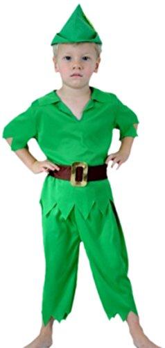 Confettery - Jungen Peter Pan Kostüm, Disney, 4-teilig, 2-3 Jahre, Grün
