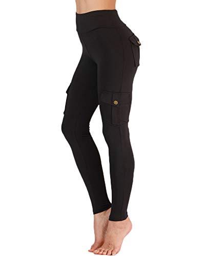 Nuofengkudu Damen High Waist Sporthose Leggings mit Taschen Militärisch Stil Stylisch Push up Tights Hosen Jogginghose Sportleggins Schwarz L