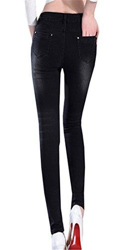 DaBag Pantaloni Donna Ragazzi Pantalone Shaping in Stretch Tapered Pants in Autunno Primavera Jeans Tinta Unita Nero