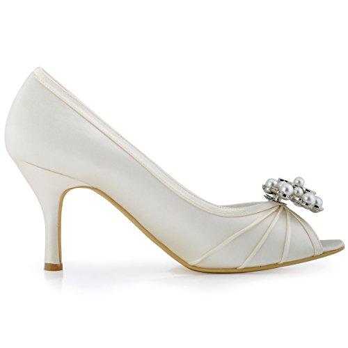 ElegantPark EP2094AE Escarpins Femme Satin AE Mobile Bijoux Perle Fleur Chaussures de Soiree Ivoire