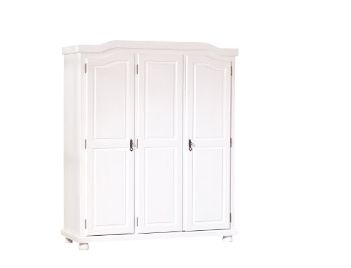 Esidra bastian baltimora armadio 3 ante, legno, bianco, 150x56x180 cm, 150x56x180