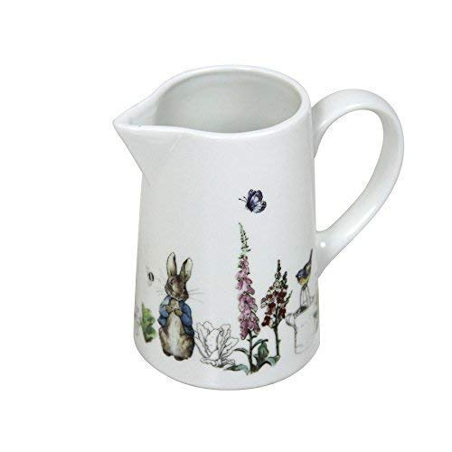 BEATRIX POTTER PETER RABBIT BLEU GRIS porcelaine blanche pot à lait h10xw11.5xd5.5cm
