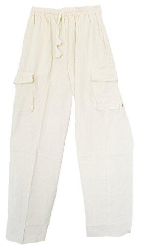 a-Hose, handgewebt, Baumwolle, elastische Taille, Cargotaschen - Elfenbein - XX-Large/XXX-Large ()