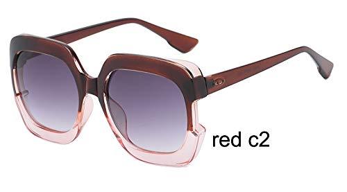 LKVNHP Sterne Kunststoff Festival Celebrity Square Übergroße Frauen Sonnenbrillen Damen Oculos De Sol Feminino Uv ProtectorWTYJ067 ROT