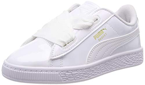 229d243c4 Puma Basket Heart Patent PS, Zapatillas para Niñas, Blanco White, 28 EU