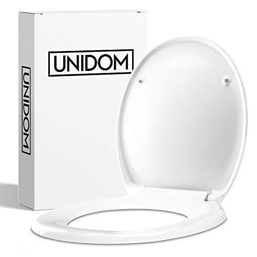 UNIDOM Hochwertiger WC-Sitz mit Absenkautomatik | O-Form Toilettendeckel in Weiß aus Duroplast - Antibakteriell | Klodeckel - Oval, Abnehmbar mit Soft-Close Automatik inkl. Edelstahl Halterung
