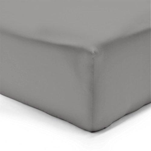 Drap housse - 100% coton - Gris (Gris Perle) - 140 x 190 cm