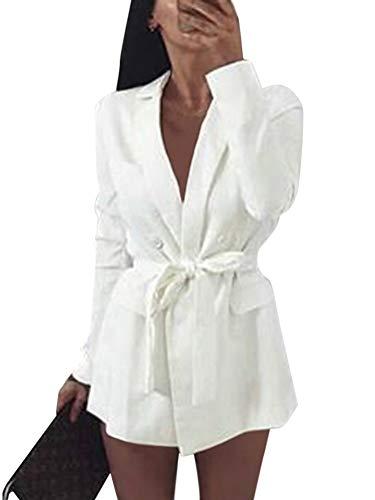 Minetom Damen Mini Blazer Kleid Frauen Elegant Langarm V-Ausschnitt Solide Hemdkleid mit Gürtel Business Lange Hülse Büro Jacken Anzug Weiß DE 36