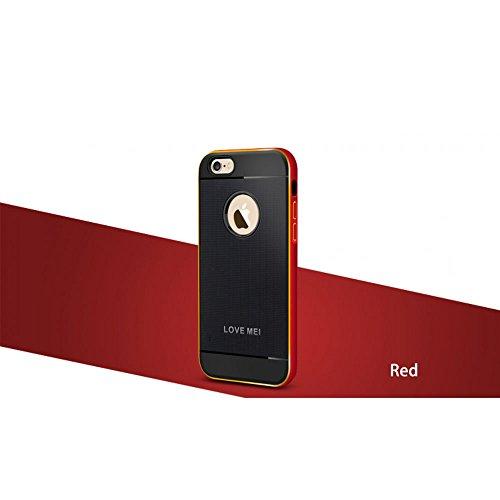 Love Mei Schutzhülle für iPhone 6(11,9cm), Hybrid Aluminium Rahmen Bumper Gummi-Haut, Schutzhülle rot
