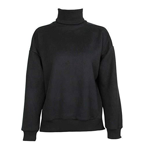 Frauen Rollkragen Langarm Slim Fit Side Split Fleece Hoodie (Color : Black, Size : One Size) - Chunky Knit Rollkragen