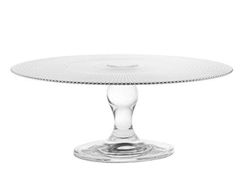 CAR Bomboniere Centro de mesa alto de cristal transparente con adorno geométrico en relieve, Diámetro de 28 cm y altura de 11 cm, Transparente