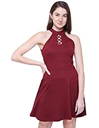 COA Womens Maroon Like What You See Organic Cotton Halter Neck Dress