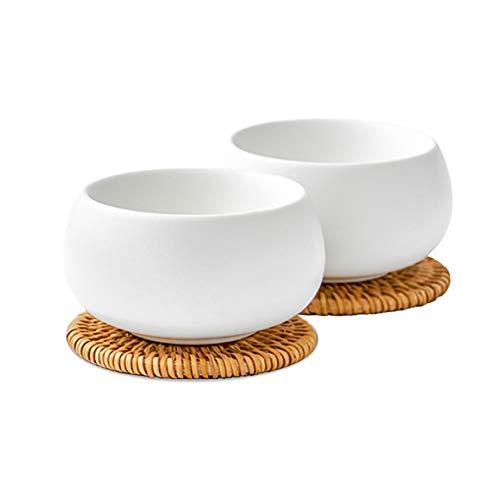 ZENS Teetassen Porzellan Weiß doppelwandig mit 2X Rattan-Untersetzer Set Mini Dessertbecher für Lose Blätter & Flower Teebeuteln Kräutertee
