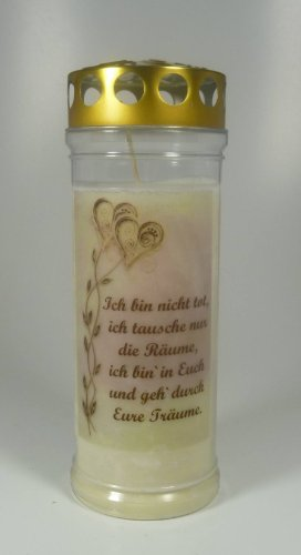 """Grablicht-Kerze Ranke Herzen Go """"Ich bin nicht .."""" (20/7 cm) 3731 - 7 Tage Brenndauer - Grabkerze mit Motiv und Spruch - Trauerkerze mit Foto und Spruch"""