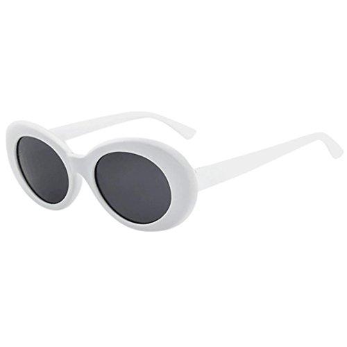 Lenfesh Retro Vintage Clut Goggles Unisex Sonnenbrille Rapper Oval Shades Grunge Brille (D)