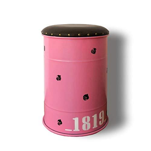 Retro-stil-barhocker (Barhocker Retro Industriellen Stil Esszimmerstuhl Locker Künstliche Pu-leder Weiche Sitzkissen Kreative Öl Barrel Ändern Schuh Hocker Restaurant Rock Band Requisiten KADJ (Color : Pink))
