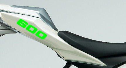 Paire 600 Revêtement Cylindrée Stickers pour, 600 CC Moto (Vert Citron)