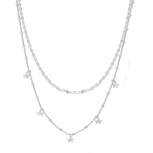 WANDA PLATA Collar Doble Estrellas Mujer Plata Ley