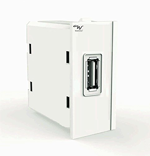 Wayona 1A Single USB Socket Charger (Compatible with Anchor Roma switch plate) - White
