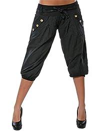 ORANDESIGNE Femme Eté Shorts Mode Court Harem Pantalon avec Ceinture  Boyfriend Baggy 3 4 Capri 0b24e1d8acb
