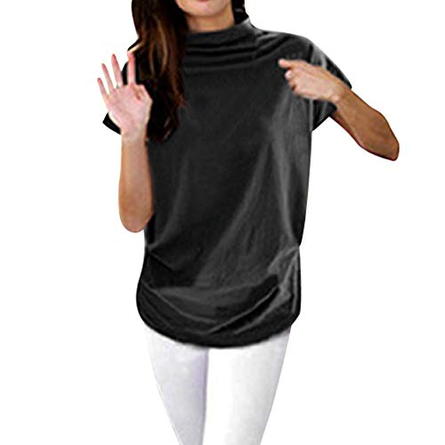 UYSDF Tops Plus Size Frauen Rollkragen Kurzarm Baumwolle Solide Casual Bluse Top T-Shirt 2019
