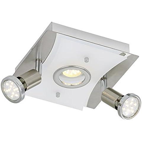Briloner Leuchten–Lámpara de techo (LED, 1x LED 5W, 2x LED GU10de 3W, mate/níquel