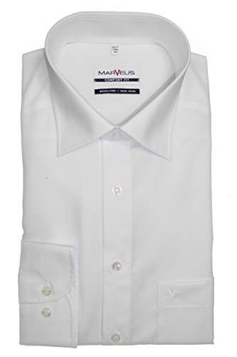 MARVELIS Comfort Fit Herren Hemd New Kent Langarm Popeline- Gr. 45, Weiß