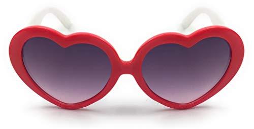 mygoodtime Sonnenbrille Kinder Brille Herz Kunststoff UV 400 Rot Weiß