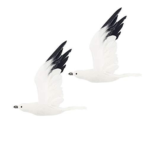 SM SunniMix Realistica Uccello Gabbiano Schiuma Ornamento Parete Feste Piscina Schiuma Regalo - Bianca 2 PCS