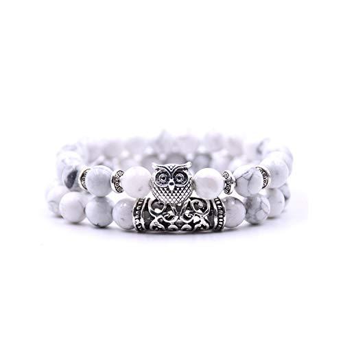 Awertaweyt Armband aus Glasperlen, 2 Pieces/Set Classic 18 Colors Natural Stone Bracelets Animal Owl Bracelets for Women Men Cool Bracelet 4 -