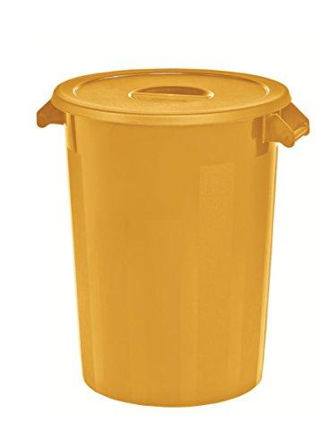 Kerafactum Großer Lagerbehälter Lager Futtertonne Behälter Tonne Zutatenbehälter mit Deckel universal aus Kunststoff gelb 100 Ltr. farblich erweiterbar Lagertonne ingredients storage container