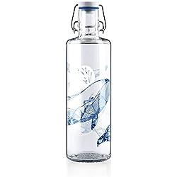 Soulbottles Trinkflasche, Glas Keramik Edelstahl Naturkautschuk, Souldiver, 1 l