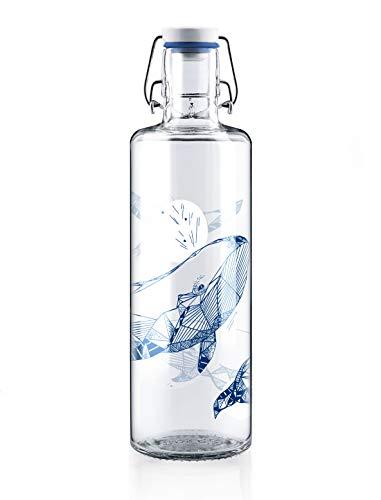 Soulbottles 1,0l Trinkflasche aus Glas • Verschiedene Motive, Made in Germany, vegan, plastikfrei, BPA-frei, Glastrinkflasche, Glasflasche (souldiver)