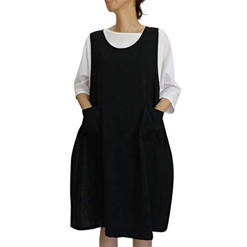 TEELONG Kleider Damen Baumwoll-Tunika-Kleid Lässige Schürze mit Taschen Pinafore-Kleid im japanischen Stil Blusenkleid Faltenkleid Ballkleid Partykleid Cocktailkleid