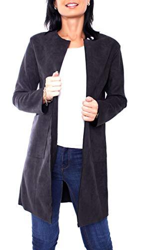 Damen Jersey Velours Kurzmantel Mantel Kurz Blazer Anzug Jacke Lang Rundhals Ausschnitt Kragenlos Uni One Size Schwarz