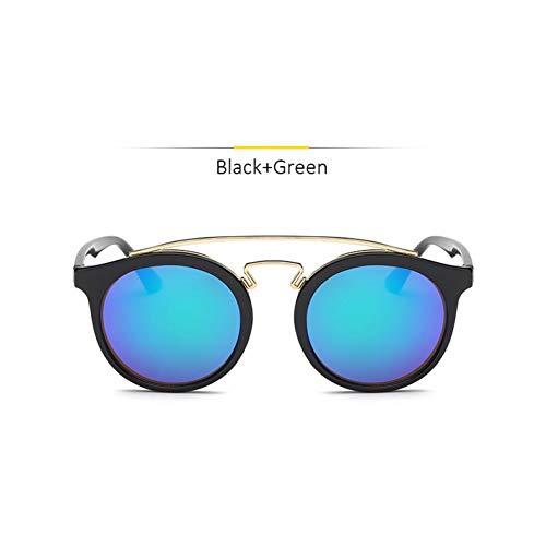 Chudanba Mode Cat Eye Spiegel Runde Sonnenbrille Frauen Männer Sonnenbrille für Frauen Shades UV400,Black Green