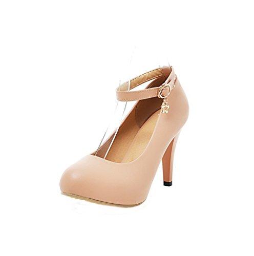 (AgooLar Damen PU High-Heels Rund Zehe Rein Schnalle Pumps Schuhe, Cremefarben, 35)