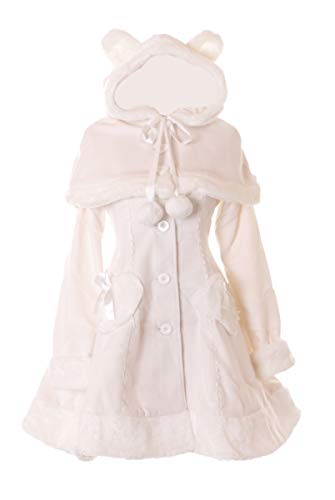 Kostüm Kawaii - JL-903 Creme-Weiß Herz Damen Winter Kapuzen Mantel Jacke mit Cape Victorian Klassisch Gothic Lolita Kostüm Cosplay (M)