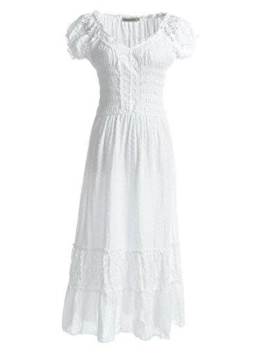 Anna-Kaci Bohême style Paysan jeune fille inspiré chapeau Blanc manche dentelle garniture robe grande