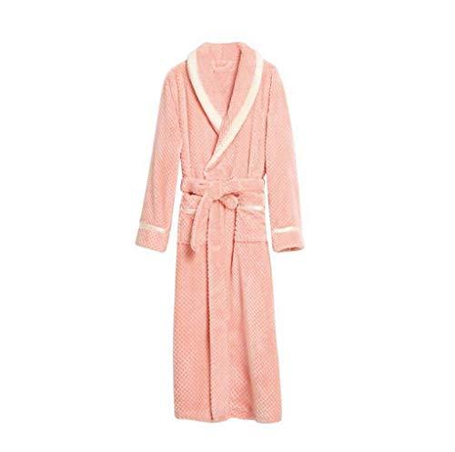 WL Bademantel Herren Morgenmantel Saunamantel Mikrofaser weich und flauschig Fleece lang Schlafzimmer Bekleidung mit Kapuze in den Größen M bis XXXL,pinkmale,XL