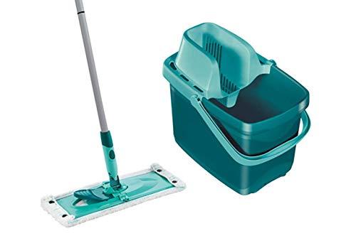 Leifheit Set Combi XL micro duo mit rückenschonendem Wischer mit 2-Faser Wischbezug, Wischtuchpresse für effektives Auswringen, breiter und reinigungsstarker Bodenwischer mit Click-System