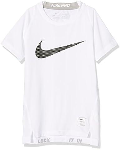 Nike Jungen Pro T-Shirt, White/Matte Silver/Black, L